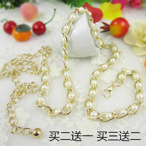 2015 women's one-piece dress decoration thin belt sweet pearl small beaded belly chain