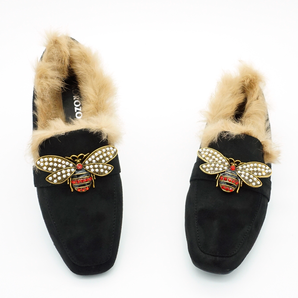 2018 Natural Rabbit Fur Pearl Bee Brand Bow Suede Women