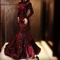 Long Sleeves High Neck Mermaid Evening Dress 2019 Glitters Burgundy Arabic Abendkleider Robe De Soiree Longue 2018