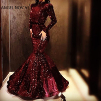 Long Sleeves High Neck Mermaid Evening Dress 2020 Glitters Burgundy Arabic Abendkleider Robe De Soiree Longue 2018