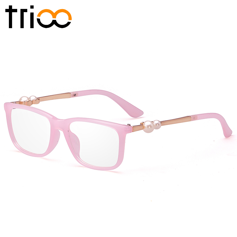 a32bf0e51fa TRIOO Pink Eyewear Frames Luxury Pearl Glasses Frames Women Square Clear  Lens Optical Eyewear Accessories Fashion Computer Glass-in Eyewear Frames  from ...