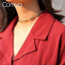 f79ed107a7bd Comiya Kabuk Chokers kolye Kadınlar Için Altın Renk Çinko Alaşım Seashell  Desen Collares De Moda Vintage Kolye Toptan