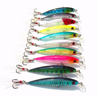 Dsstyles 10ピースミノー釣りルアーセット9センチ8グラム人工ハード餌で羽デュアル釣り針スイムベイト