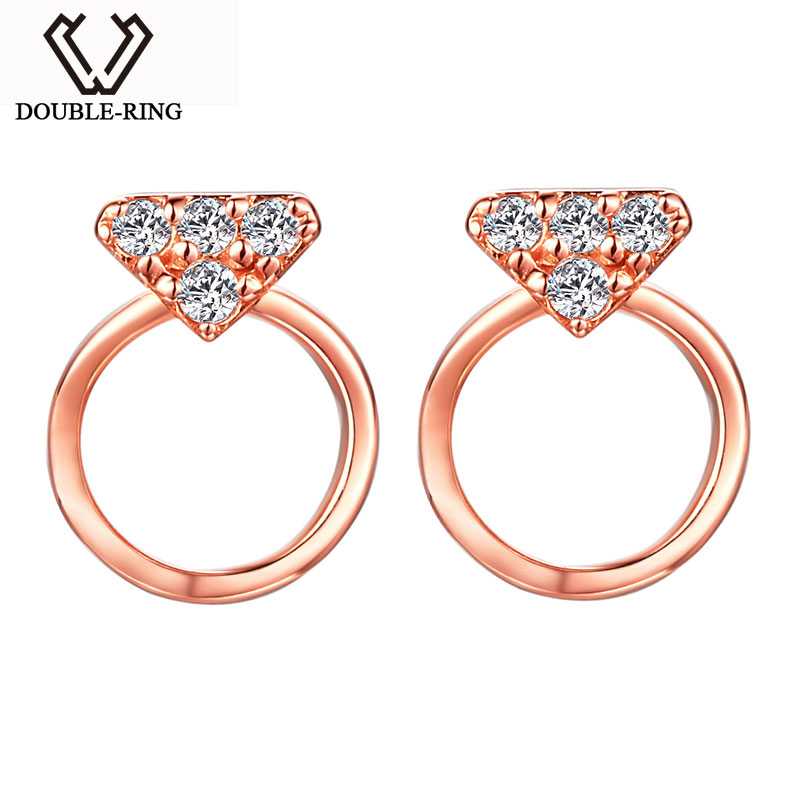 DOUBLE-R Romantic Genuine 18K Gold Stud Earrings Female with 0.048ct Diamond for Women Fine Jewelry Bijouterie Gift CASE02415KA 18k rose gold women stud earrings double balls fine engaged wedding jewelry fashion female delicate gift hot sale trendy party