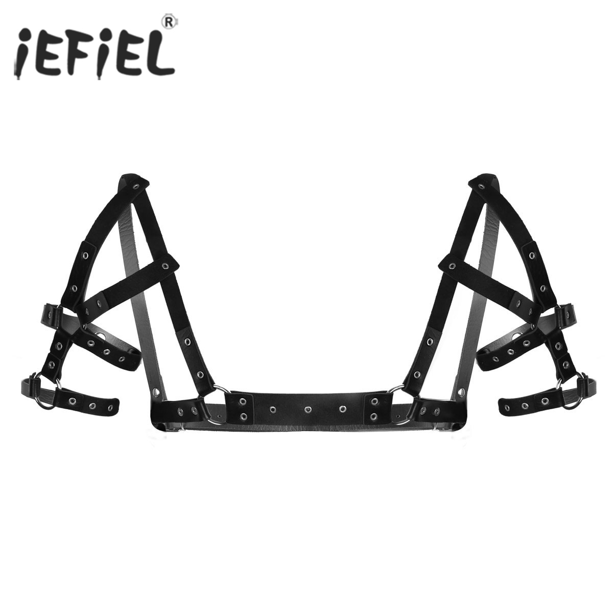 iEFIEL Black Fashion Clubwear PU Leather Harness Belts Adjustable Body Chest Harness Belt with Metal O-rings Punk Costumes