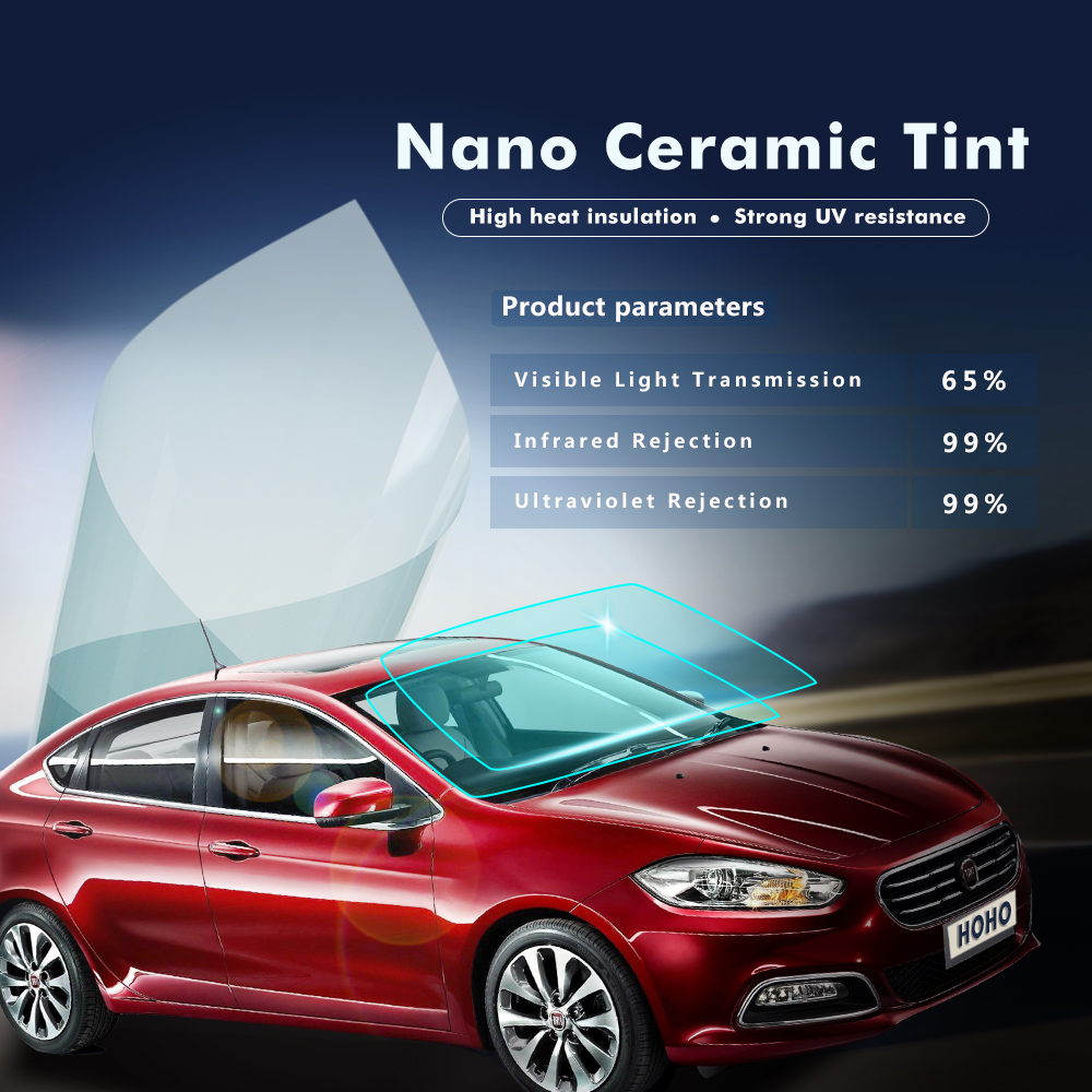 Car Nano Ceramic Film Automobiles Protective Solar Tints Light Blue Color 65% VLT 1.52x30m roll