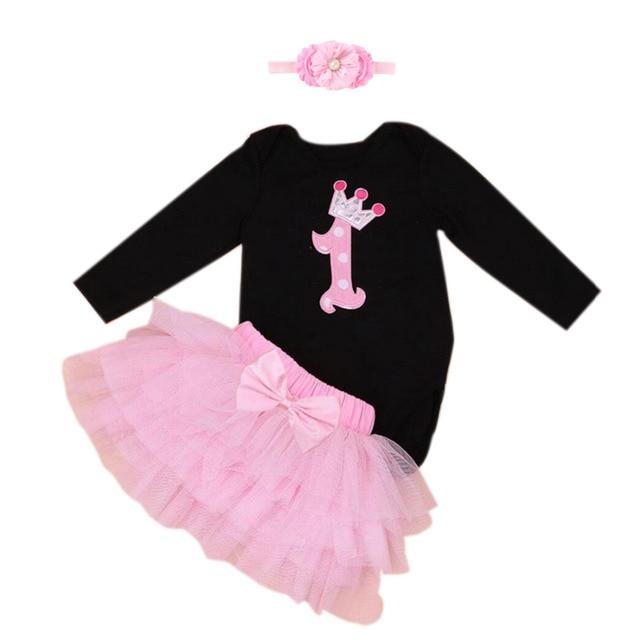 ef8c98012dd5 3PCs per Set Black Pink Long Sleeves Baby Girl 1st Birthday Tutu ...