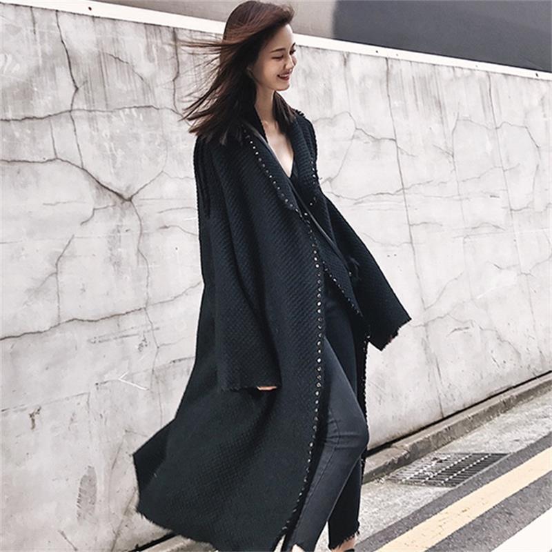 Normal D'hiver Femmes Femme Abrigos Manteau Veste Mode Long Survêtement Tweed Simple Laine Noir Surdimensionné thicken Mujer Classique vmNw8On0