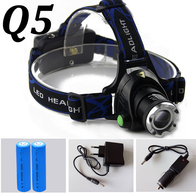 Waterproof LED Headlight CREE Q5 Headlamp with 18650 Battery 2 Chargers Head Lamp LED Flashlights Head Torch Camping