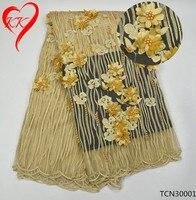 Beautifical paciorkami koronki aplikacja złota koronka aplikacja 3d koronki tkaniny wysokiej jakości koronki tkaniny na suknie ślubne tiul TCN300