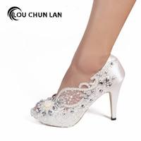 Women Pumps Shoes Open toe lace wedding shoes pearl rhinestone bride dress ultra high heels crystal silks satins female 41 42 43