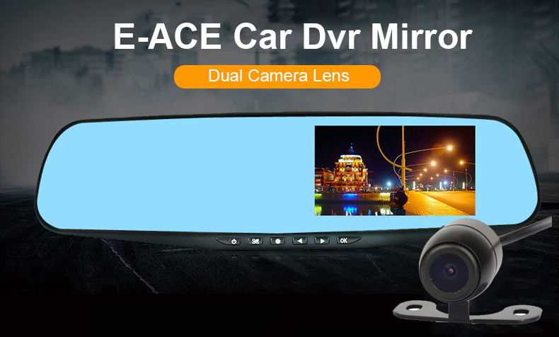 E-ACE Car Dvr 1080P Dual Lens Dash Camera Rear Mirror Digital Recorder With Rearview Camera Video Recorder Camcorder Registrar 4