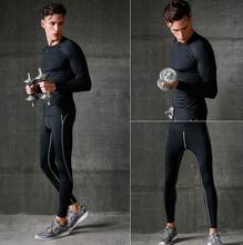 2016 Breathable Solid O-neck Long Sleeve Sport Running Set Plus Size T Shirt Pants Tracksuit Male Fitness Wicking Sport Suit