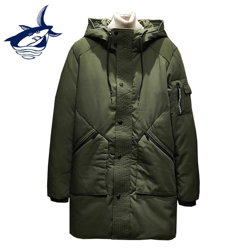 Tace & Shark Hood Long Down Jacket Men Brand Clothing Mens Winter Jackets Windproof Long Parka Coat White Duck Down Jacket