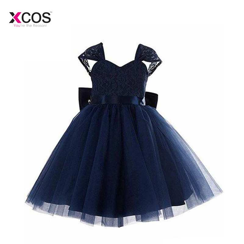 2018 Real Sample Dark Navy Lace And Tulle   Flower     Girl     Dresses   For Wedding Big Bow Sash Backless Kids Formal Gowns