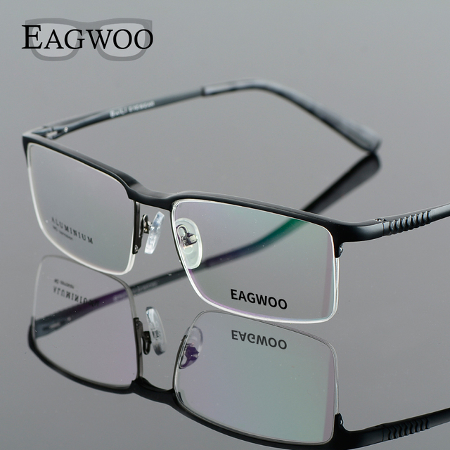 a12756bcf0 Aluminum Alloy Half Rim Optical Frame Prescription Men Rectangular Brown  Eyeglasses Business Glasses Sports Spectacle M82932