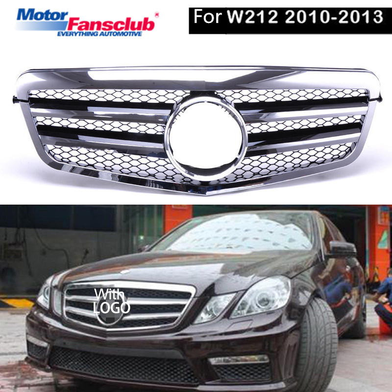 Car Racing Grille For Mercedes Benz E-Class W212 2010-2013 Grill Emblems Chrome Black Mesh Radiator Front Bumper Lower Modify 2pcs car racing grille for ford fiesta 2014 2015 2016 grill abs black radiator chrome front bumper upper lower modify mesh