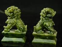 Rare A pair 100% China natural jade hand carved statues fo dog lion