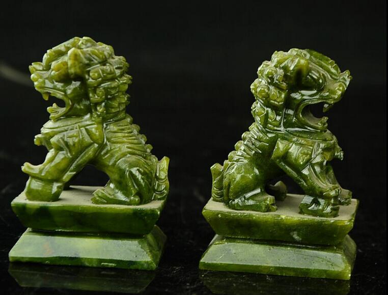 Rare A pair 100% China natural jade hand-carved statues fo dog lionRare A pair 100% China natural jade hand-carved statues fo dog lion