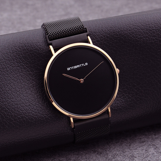 Japan Quartz Luxury Black Minimalist Men Watch Women Classic Rose Gold Thin Mesh Stainless Steel Magnet Band Simple Waterproof