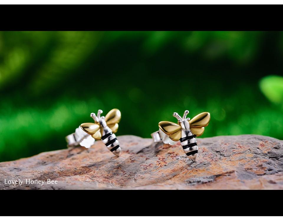 HTB1lFLeX.jrK1RkHFNRq6ySvpXaI Lotus Fun Real 925 Sterling Silver Earrings Designer Fine Jewelry Lovely 18K Gold Honey Bee Stud Earrings for Women Gift Brincos