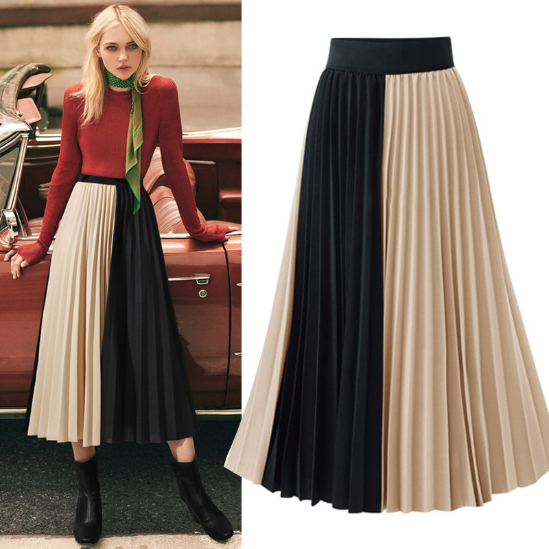 Skirts Womens High Street Fashion Contrast Color Patchwork Pleated Skirt Elastic High Waist A Line Midi Skirt Women Clothes 2019