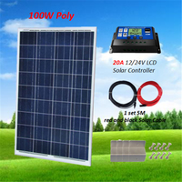 100W 18V Polycrystalline Solar Panel Kit for 12v Battery off Grid System W/ PWM 20A LCD Solar Controller Solar for Home