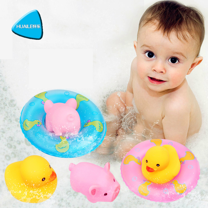 12pcs Baby Summer Swimming Toys Beach Swimming Poll Accessories Little Duck Piggy Inflatable Swimming Ring Free Shipping
