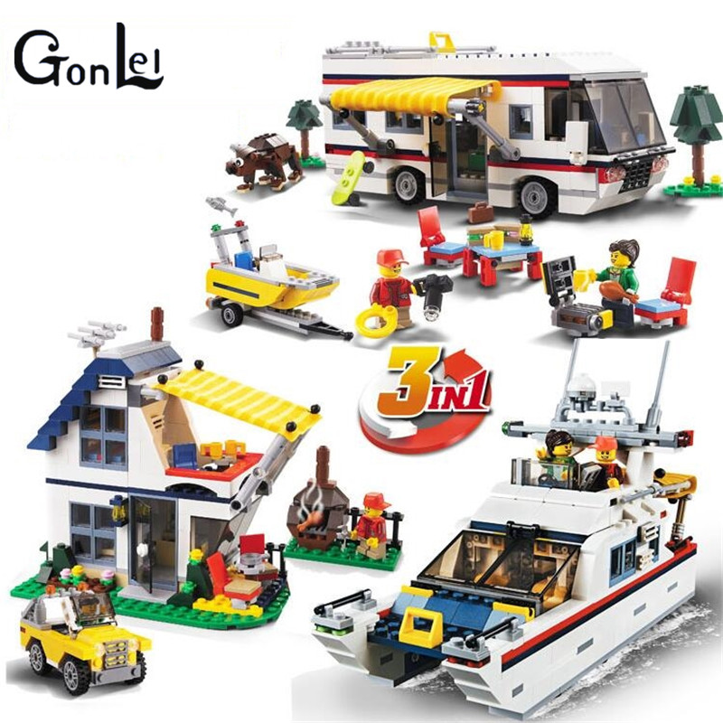(GonLeI)3117 City Creator 3 in 1 Vacation Getaways Building Blocks Bricks Kids Model Toys Marvel Compatible With lepin city creator 3 in 1 beachside vacation building blocks bricks kids model toys for children marvel compatible legoe