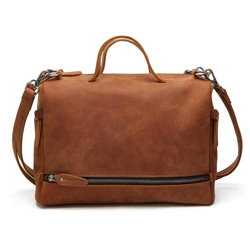 Large capacity genuine leather vintage bag women handbag retro crazy horse cowhide women shoulder Bags ladies leisure tote bag стоимость