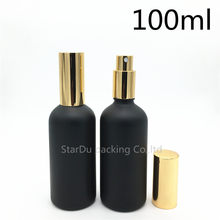 Free Shipping 12pcs 100ml black Frosted glass bottle with gold aluminum sprayer, Essential Oil Spray Glass perfume bottle(China)