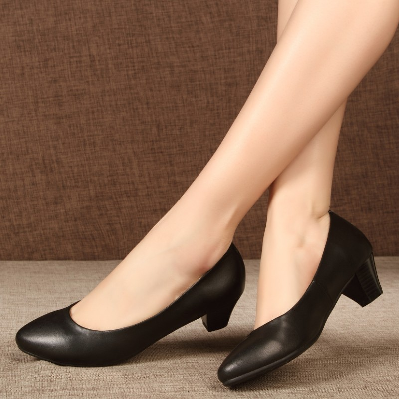 134f7e0744a Soft outsole formal shoes women female leather genuine leather thick heel  work shoes female black medium hells shoes