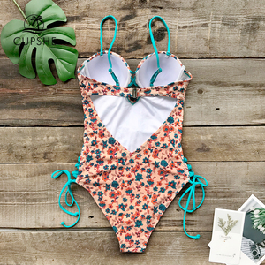 Image 2 - CUPSHE Sexy Dainty Floral Print Lace Up One Piece Swimsuit Women Push Up Monokini 2020 Girl Beach Bathing Suits
