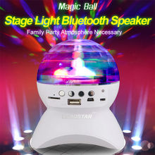 mini stage light portable bluetooth speaker Crystal Auto Rotating led Bulb Lamp USB mp3 player party atmosphere 18650 battery