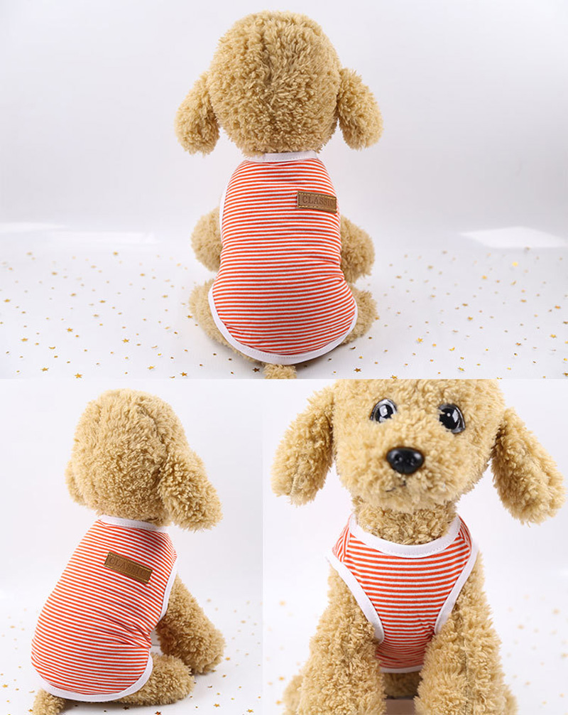 Pets Dog Clothing Spring/Summer Pet Cat Clothes for Cats Kitty Kitten Classic Striped Vest T-shirt Fashion Cotton Cats Shirts 11