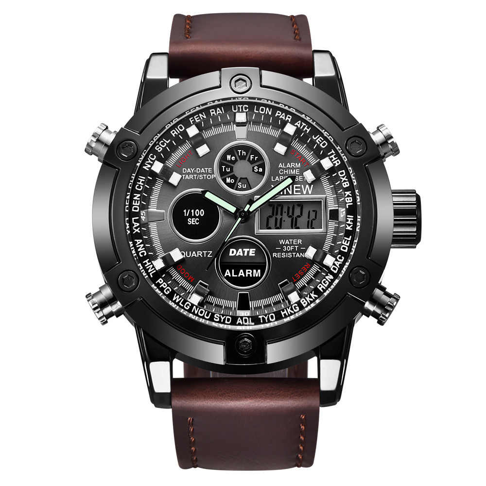 Business Luxury LED Date Dual Movt Men Watches Leather Quarz Analog Digital Sport Wrist Watch Military Relogio Masculino Saat#30 стоимость
