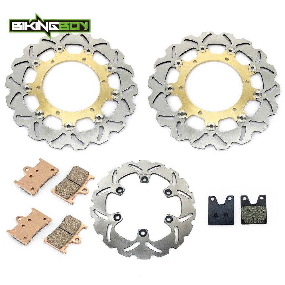 BIKINGBOY спереди и сзади тормозные диски роторов диски колодки для Yamaha YZF R1 1998 1999 2000 2001 98 99 00 01 мотоцикл, запчасть комплект