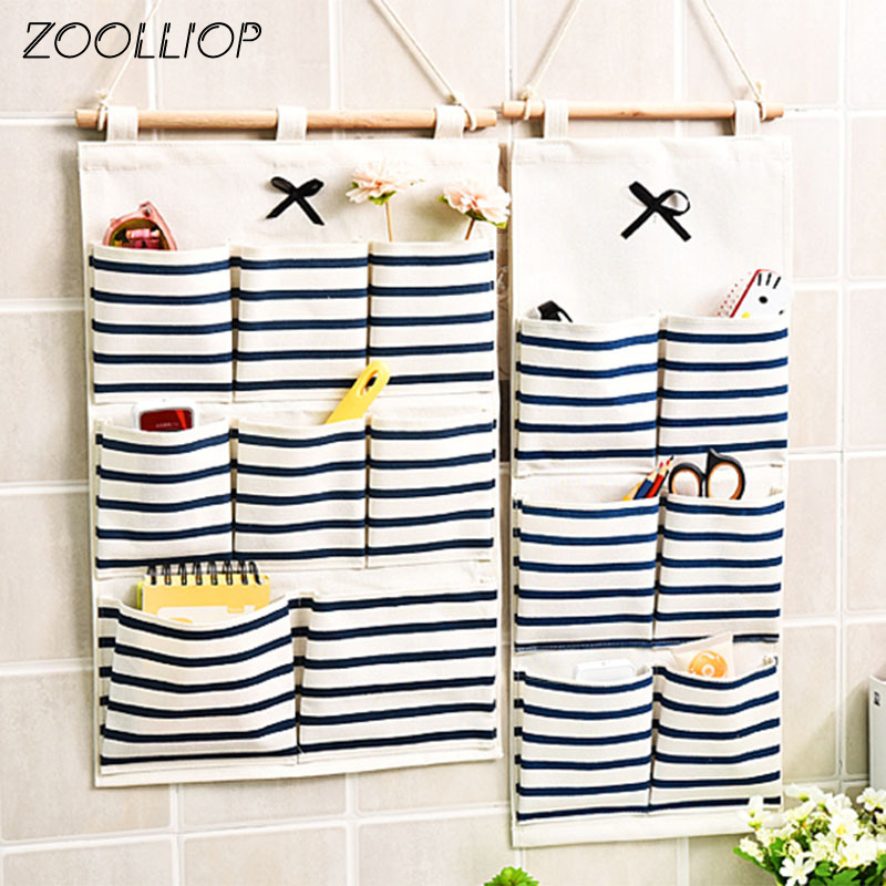6/8 Storage Pockets Wall Door Waterproof Hanging Bathroom Linen Cotton Sundries Folding Underwear Socks Sorting Bag Organizer|Storage Bags| - AliExpress