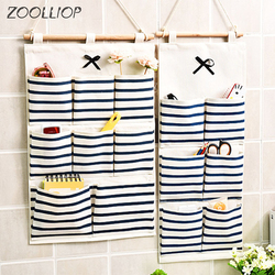 6/8 Storage Pockets Wall Door Waterproof Hanging Bathroom Linen Cotton Sundries Folding Underwear Socks Sorting Bag Organizer