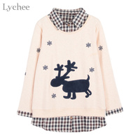 Lychee Autumn Winter Women Sweatshirt Snowflake Deer Patchwork Plaid Long Sleeve Casual Pullover Tracksuit