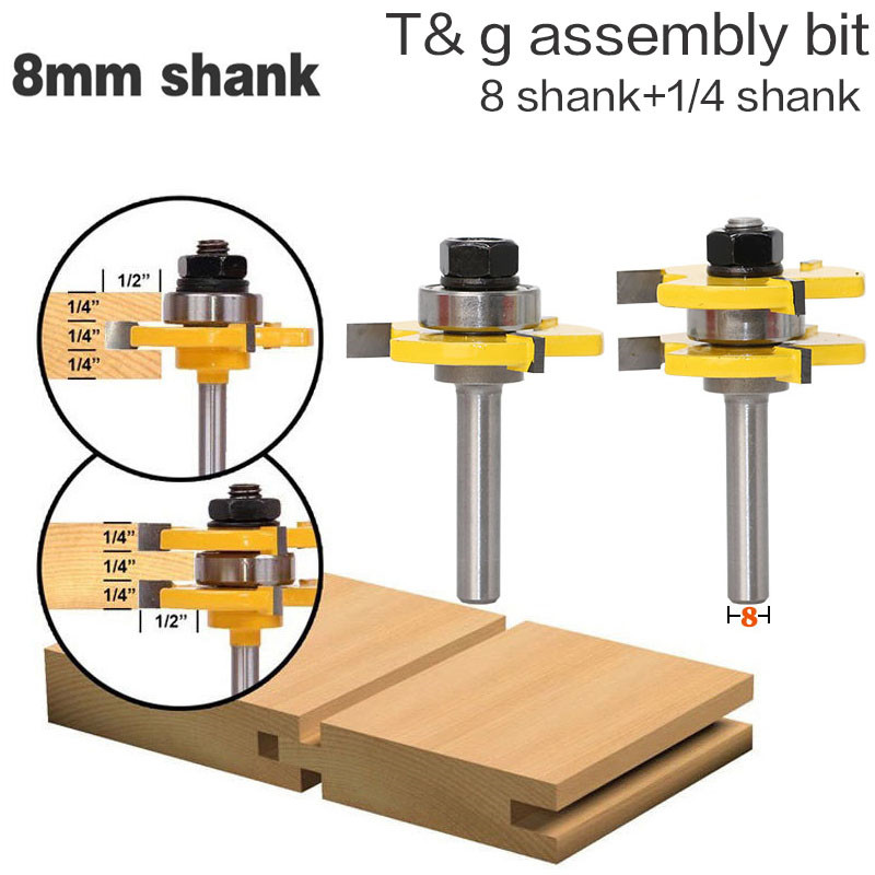 Router Bit 1//4 Shank 1//4 Coupe Dia 20 mm profondeur Flush Trim Bit Bearing carbure 2pcs