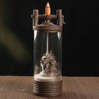 Auspicious Dragon Backflow Incense Burner Glass Cover Ceramic Crafts Teahouse Ornaments Beautiful Home Decor Cone Censer