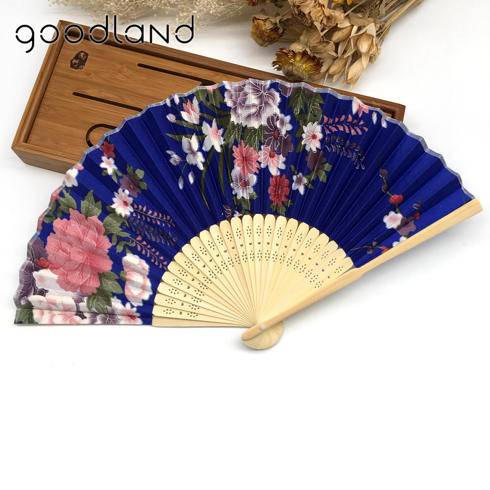 Wholesale Free Shipping 50pcs Folding Hand Fan Fabric Floral Plum Blossom Flower Print Folding Hand Fans