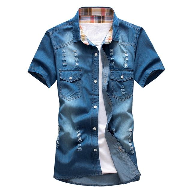Summer denim short-sleeved shirt M Slim inch hole jeans shirt dress shirt tide male (asian size)