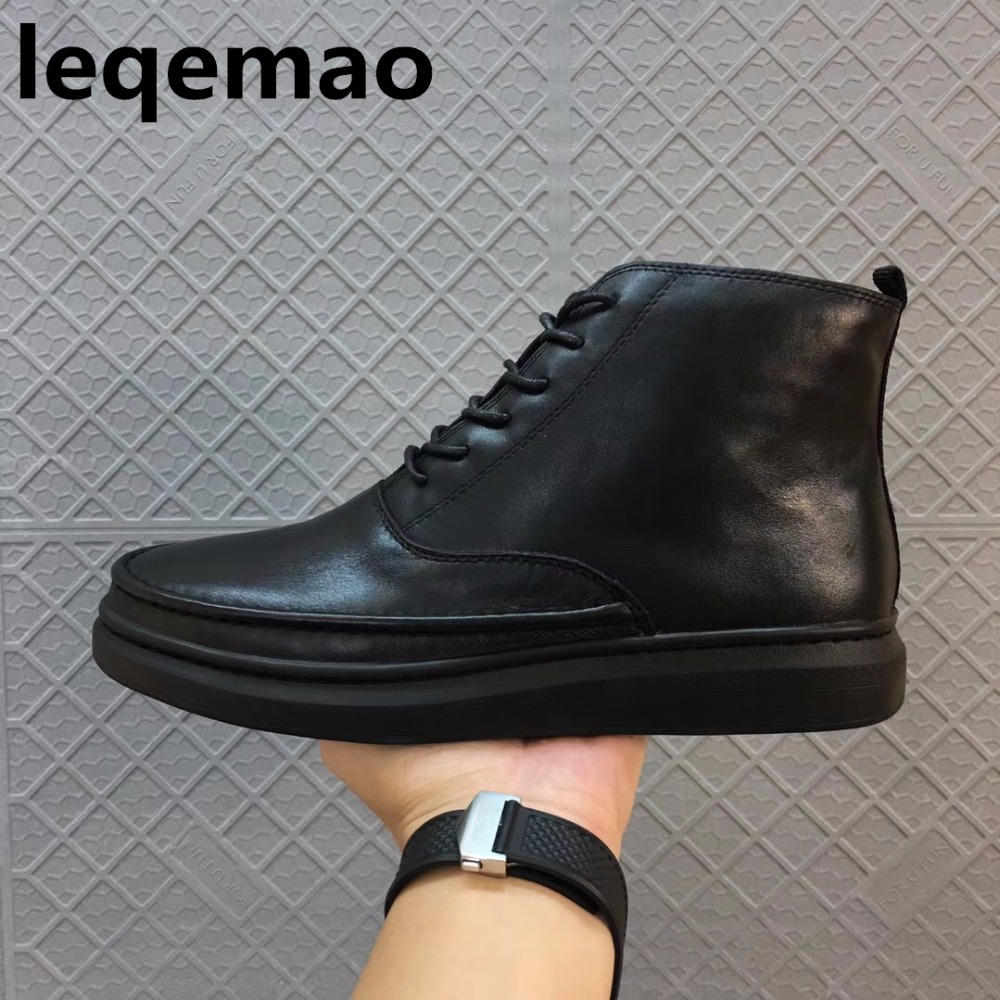 New Men Boots Arrival Shoes Basic High-TOP Ankle Genuine Leather Luxury Winter Trainers Warm Fur inside Boots Flats Shoes Black autumn warm plush winter shoes men zipper 100% genuine leather boots men thick bottom waterproof black high top ankle men boots