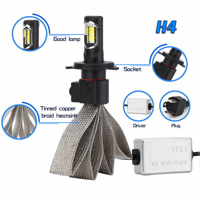 Car Headlight Lamp Led H4 H7 H1 9006 hb4 h27 9005 9004 9007 H13 H3 H11 Bulb 12v 6000K Super Bright Automobiles Lights COB Chip