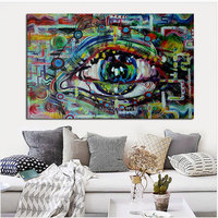 Hand painted Decorative Poster EYE Wall Art pop Graffiti Canvas Oil Painting Modern Abstract Paintings GREEN Wall Picture GIFT
