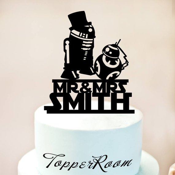 R2d2 Bb8 Cake Topper Star Wars Wedding Cake Topper Star Wars Silhouette Cake Topper R2d2 Wedding Cake Topper