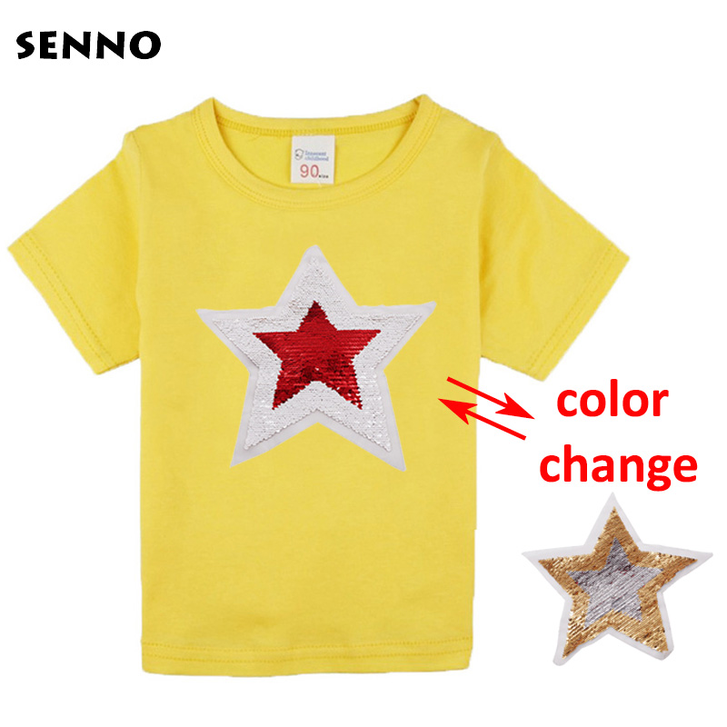 SENNO festival summer shining glitter star magic switchable sequin girl tee shirt kid girls t shirt children tops clothes 2-17T сотовый телефон bq 2426 energy l black