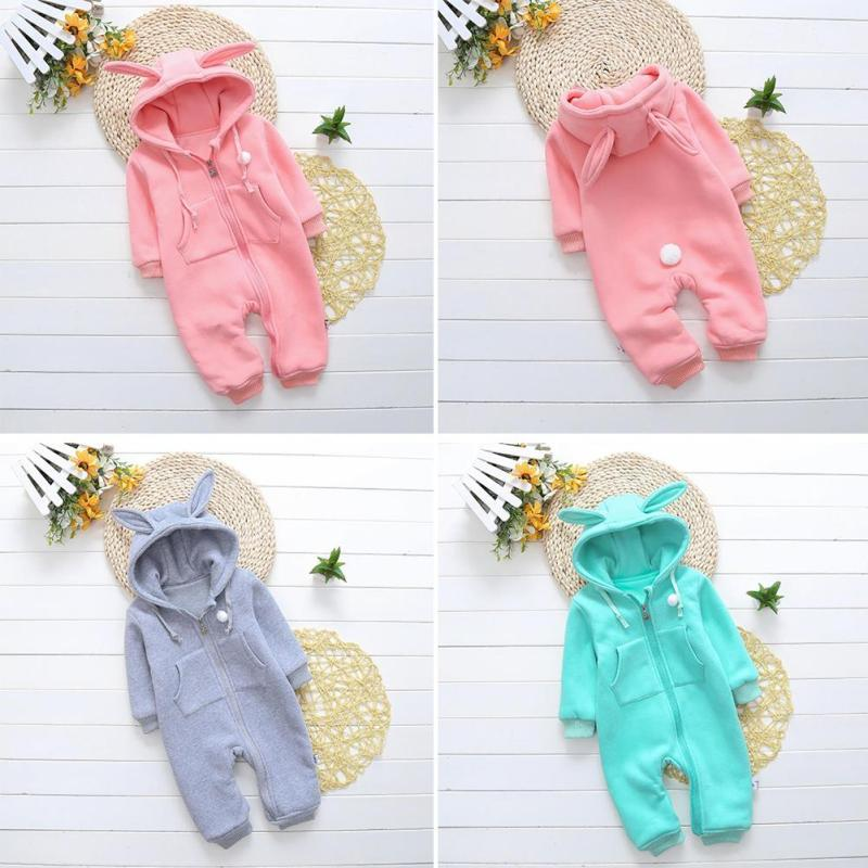 Newborn baby clothes Rabbit Ear baby girl boy rompers hooded plush jumpsuit winter overalls for kids roupa menina XV5